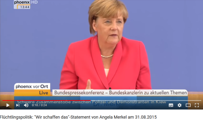 "Screenshot Youtube Pressekonferenz Angela Merkel ""Wir schaffen das"" [Quelle: Screenshot Youtube]"