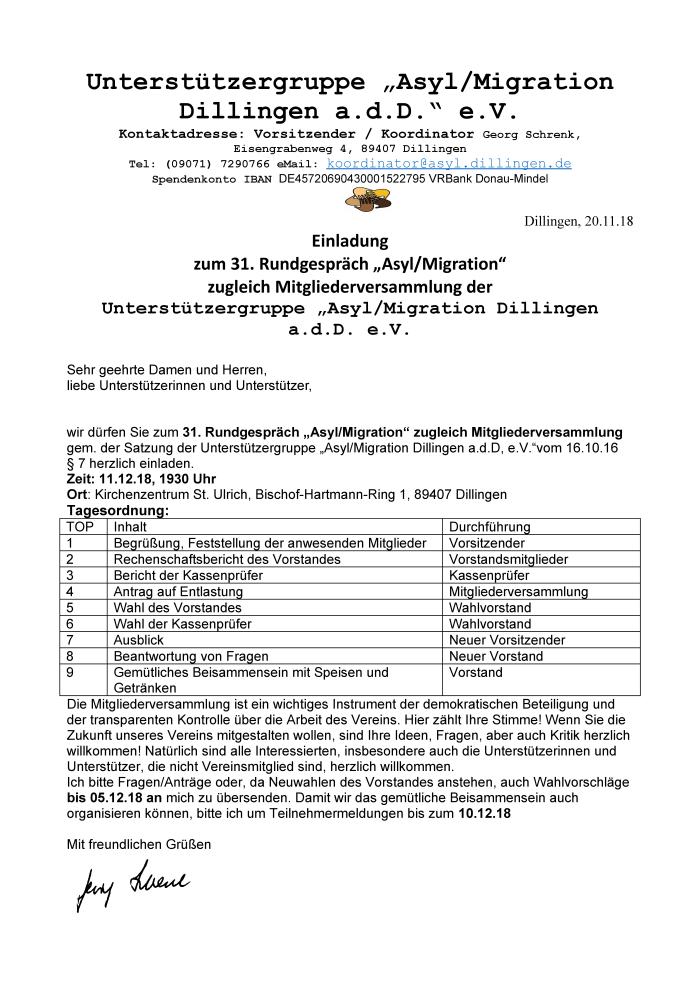 Einladung zum 31- Rundgespräch Asyl/Migration